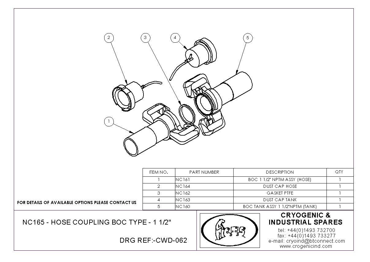 Boc fittings cryogenic industrial spares